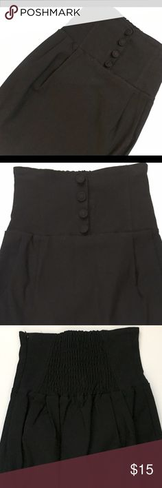 """Sexy High Waist Lip Service Skirt Career sexy high waisted black skirt by Lip Service.  Very gently zone, it was worn once.  It is a size 2 however run a bit larger.  It is adorned with four fashion buttons down the front, hidden side zipper and elastic on the back, which stretches the waistline. Measurements include: Length: 18"""" and waistline: 11.5"""" (measured flat) and stretches. Lip Service Skirts Mini"""