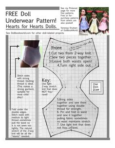 "FREE underwear (or swimsuit bottom) pattern  Fits 14"" Hearts for Hearts Girls  - Dolls that represent girls of many countries, races. Playmatestoys.com donates $ to charity helping girls from places represented by the dolls. In many big box stores & online."