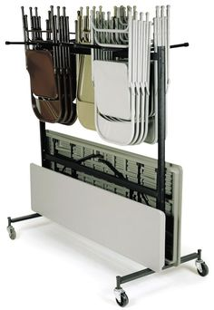 Hanging Folding Chair And Table Storage And Transport Cart   Holds Up To 42  Chairs And 10 Tables