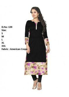 Ethnic Wear Readymade Black Crepe Kurti - 139