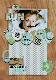 SC letter paper, circles I love how the embellishments go off the main paper with a different complimentary paper behind! Album Journal, Scrapbook Journal, Scrapbook Paper Crafts, Scrapbook Cards, Scrapbook Photos, Scrapbook Layout Sketches, Scrapbooking Layouts, Picture Layouts, Shabby