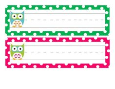 12 Owl Desk Name Tags | Owl, Cubbies and Name tag templates