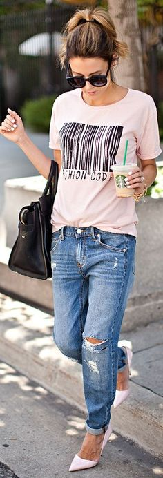 Target Blue Distressed Denim Slim Boyfriend Jeans by Hello Fashion