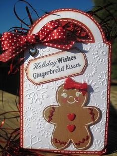 Gingerbread girl.  Gift tag.