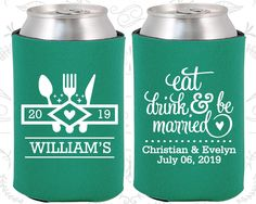 Eat Drink and Be Married, Wedding Party Favors, Country Wedding Favors, Picnic Wedding Favors, Outdoor Wedding Favors, Coozies (427)