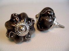 Unique Embossed Soft Black Porcelain Drawer Pulls Cabinet Knobs