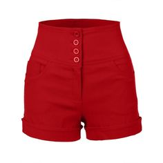 RubyK Womens High Waisted Sailor Shorts with Stretch ($22) ❤ liked on Polyvore featuring shorts, bottoms, red, stretchy shorts, high-waisted shorts, highwaisted shorts, sailor shorts and stretch shorts