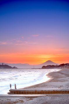 富士山、海、絶景
