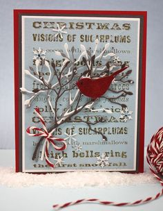 Card by Jenny Griffiths [Memory Box (dies) Crystalline Border, Leafy Branch, Perched Reed Bird, (stamps) Vintage Christmas Words)] Boxed Christmas Cards, Xmas Cards, Handmade Christmas, Vintage Christmas, Holiday Cards, Christmas Bird, Natural Christmas, Christmas Ideas, Memory Box Cards