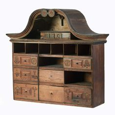 Unusual folk art cabinet dated 1751/great cubbard for simples