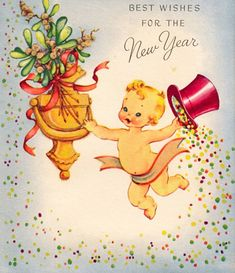 I adore Vintage Christmas cards, trees, decorations and advertisements! If you do too this is the place for you. Vintage Happy New Year, Happy New Year Images, Happy New Year Cards, New Year Greeting Cards, New Year Wishes, Happy New Year 2019, New Year Greetings, Vintage Greeting Cards, Xmas Cards