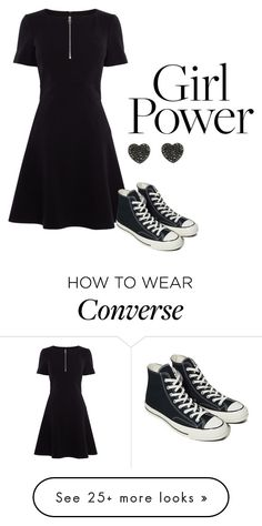 """#73"" by whale-are-you-stormy-nights on Polyvore featuring Karen Millen and Converse"