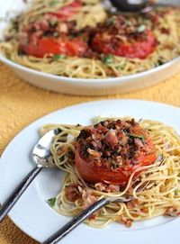 The Italian Dish - Posts - My New Favorite Dish - Spaghetti with Roasted Tomatoes, Garlic, Pancetta