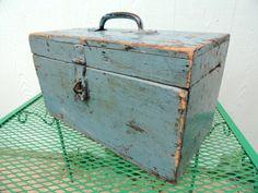 Vintage Wooden Box Rustic Blue Box Organizer Supply Tote Industrial Primitive