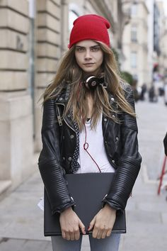 Cara Delevingne Street style during Fashion Week