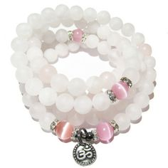Be Lovely - Mala Rosary - Rose Quartz with Rose Quartz Cats Eye Accents and Optional Charm | Edgy Soul