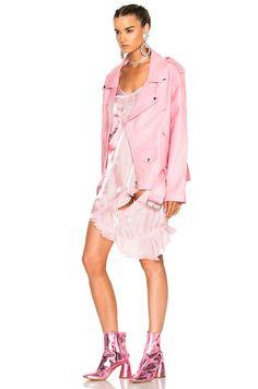 Image 3 of Marques ' Almeida Oversized Biker Jacket in Pink