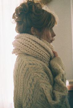 Chunky lambs wool scarf
