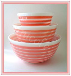 Pink Rainbow Stripes Pyrex Mixing Bowls