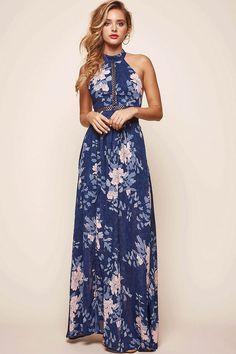 b130b930180 Baylor Floral Halterneck Maxi Dress Navy