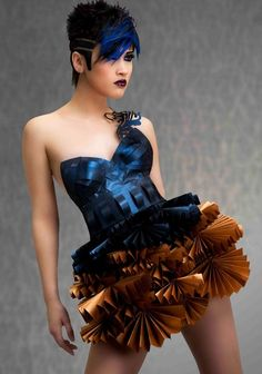 future, futuristic, Future Girl, Avant-Garde Fashion, Blue Dress, Futuristic Clothing, Undercut, Blue Hair, Futuristic Look, Hairstyle by FuturisticNews.com