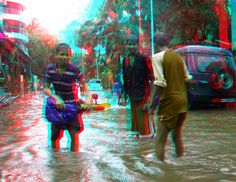Wading in a flooded street. ... similar methods, especially since 3D television and Blu-ray 3D
