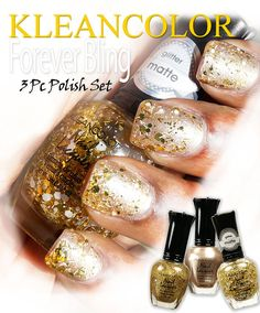 Kleancolor Nail Polish Lacquer 3 pc DIY Gold Bling Glitter Set * This is an Amazon Affiliate link. Read more at the image link.