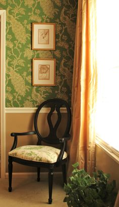 Ethan Allen Margaux Chair Silk Ethan Allen Drapery Peacock Green Wallpaper