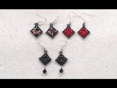 Beading4perfectionists: Superduo diamond / square shaped earrings beading tutorial - YouTube