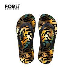 4b697ad4ee65b FORUDESIGNS High Quality Summer Men s Flip Flops Colorful 3D Print Male  Sandals Beach Flat Slipper Casual