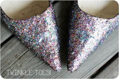hmmm...homemade wedding glittery shoes?!  yes I think so.  Mark knows how much I've been swooning over these.