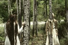 Knots - FREE SHIPPING Print Nature Trees Woods Forest Girls Sisters Green White Brown Tied Trapped Vintage Dress Surreal Creepy Photo Art on Etsy, $52.00