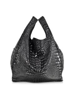 MM6 Maison Martin Margiela Black Croco Coated Canvas Tote