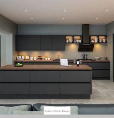 Small Modern Kitchen Design and Ultra Modern Kitchen Island. - Small Modern Kitchen Design and Ultra Modern Kitchen Island. Kitchen Room Design, Modern Kitchen Design, Home Decor Kitchen, Interior Design Kitchen, Modern Kitchens, Kitchen Ideas, Diy Kitchen, Modern Grey Kitchen, Rustic Kitchen