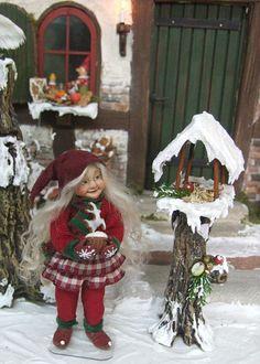 Winter Pixie girl no.1, orig OOAK 1/12th miniature doll by Silke Janas-Schloesser