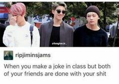Hahahaha Namjoons smirk vs Jin and TaeTae being super done