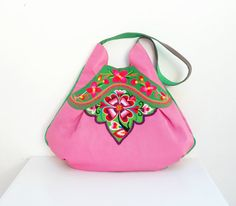 Vintage Embroidery and Leather Bag  Large Pink Boho von StarBags, $264.00