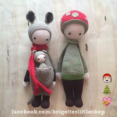 KIRA the kangaroo & PAUL the toadstool made by Brigette / crochet patterns by lalylala