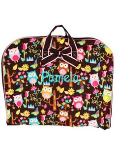 $18.50 Owl Give a Hoot Garment Bag with Brown Trim