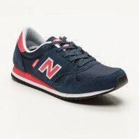 New Balance - Sneakers blu e rosa inserti in pelle scamosciata