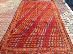 "Large Kilim Rug, 125"" x 72"" Red Kilim rug, Vintage Turkish kilim rug, kilim, rug, vintage rug, Turkish rug, rug, tribal rug, authentic rugs"