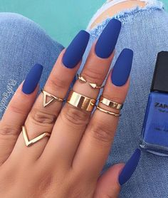 A manicure is a cosmetic elegance therapy for the finger nails and hands. A manicure could deal with just the hands, just the nails, or Blue Matte Nails, Coffin Nails Matte, Matte Nail Polish, Dark Nails, Cute Acrylic Nails, Yellow Nails, Acrylic Nails For Summer Almond, Acrylic Summer Nails Coffin, Blue Chrome Nails