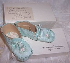 silk baby booties with provenance ... from grantgrace on ebay