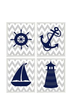 Nautical Nursery Art Print Set - navy/blue/gray (Etsy, RizzleandRugee)