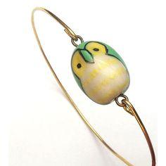 Brass Green Porcelain Owl Bracelet