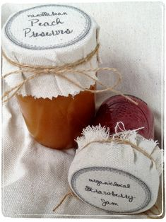 Free template and tutorial for making personalized fabric mason jar covers using drop-cloth, freezer paper and your home computer