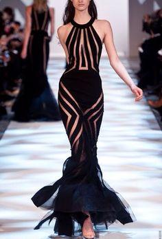 Black sheer formal dress