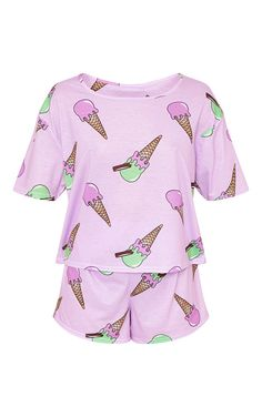 Ice Cream Lilac PJ Set - View All - New In | PrettyLittleThing