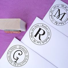 Small Round Customized Rubber Address Stamp. $18.00, via Etsy. Way less expensive than the others.