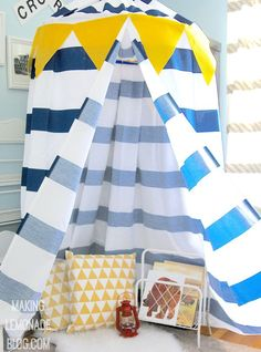 Check out how she made this DIY kids' no-sew play canopy tent in under an hour…